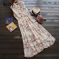 Sleeveless Print Floral Chiffon Stand Collar Ankle-Length Long Dress Vintage Flower Slim Elastic Waist Vestido De Renda kleid