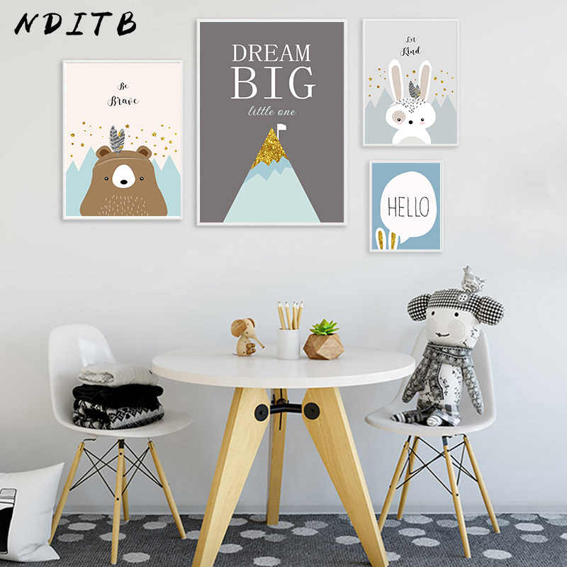 NDITB Tribe Woodland Animal Canvas Art Poster Bear Rabbit Nursery Print Painting Decorative Picture Nordic Kids Bedroom Decor