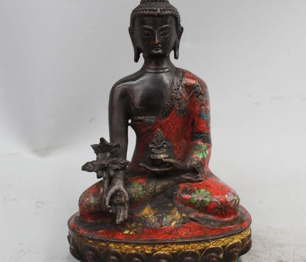 "8"" Tibet Buddhism Cloisonne Bronze Gild Shakyamuni Amitabha Buddha Bowl Statue"