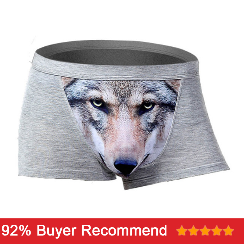 Wolf Underwear Cotton Funny Men's Boxer Shorts Pouch Bulge Sexy Boxershorts Spandex