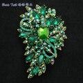 """Mulheres Acessórios de Jóias de Strass Cristais Verde Flor Broche Espeto Pin 3.3 """"4080 Jóias"""