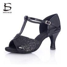 Hot Sale New Arrivals Adult Ladies Girl Ballroom Latin Dance Shoes Med Heel Tango Salsa Indoor