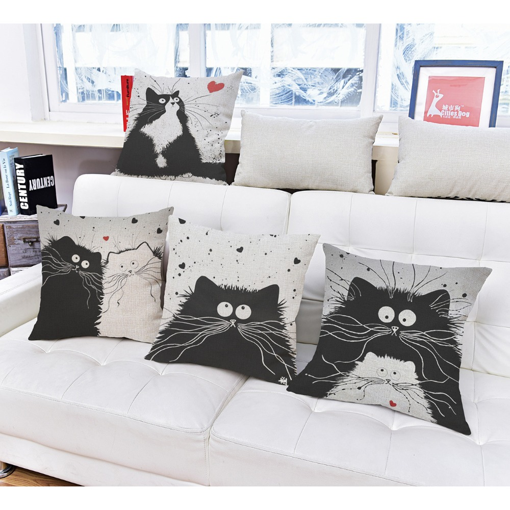 Gracious Home Decorative Pillows : ?Square 18 Home Decorative ?? Pillow Pillow Cartoon Cartoon Black White ? Cats Cats Printed ...