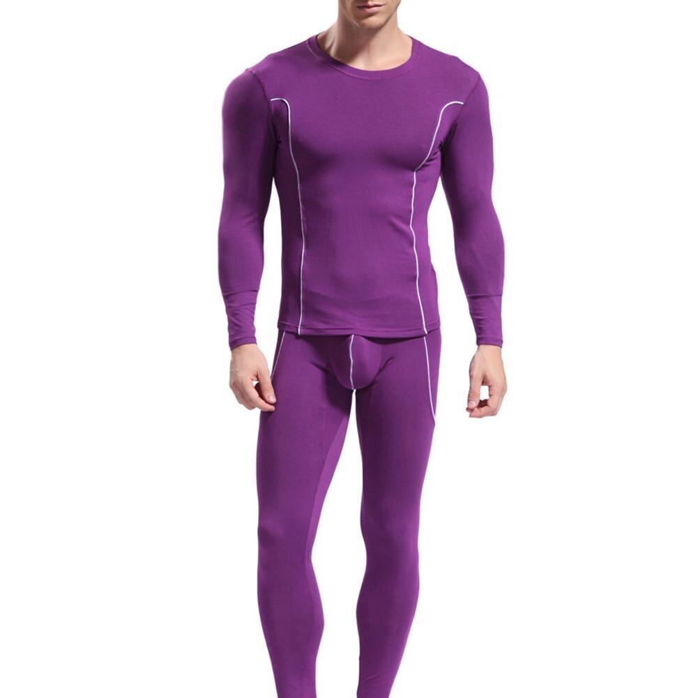 Для мужчин в полоску с длинными рукавами Термальность мягкий теплый нижнее белье Slim Fit Топ и штаны комплект