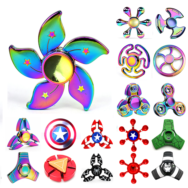 Newest Metal Rainbow Fidget Spinner Alloy Colorful Hand Tri-Spinner Adult Child Funny Flower Round Gyro Hero Toy Kid Gift fq777 hexagonal fidget hand spinner aluminum alloy red