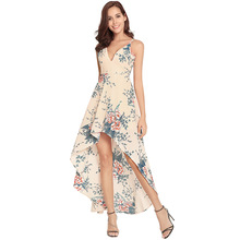Floral Long Maxi V Neck Backless Strapped Irregularities Asymmetrical Dress