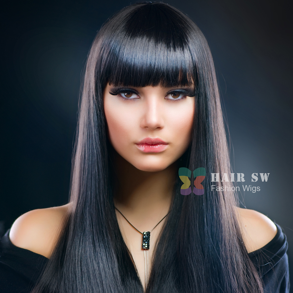 Free Shipping Hair Sw Fashion Long Straight Neat Bangs Black
