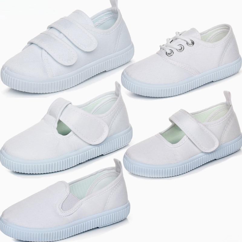 Branco tênis de lona sapatos para meninas meninos crianças escola estudante dança ginástica sapatos casuais unisex esporte branco sapatos