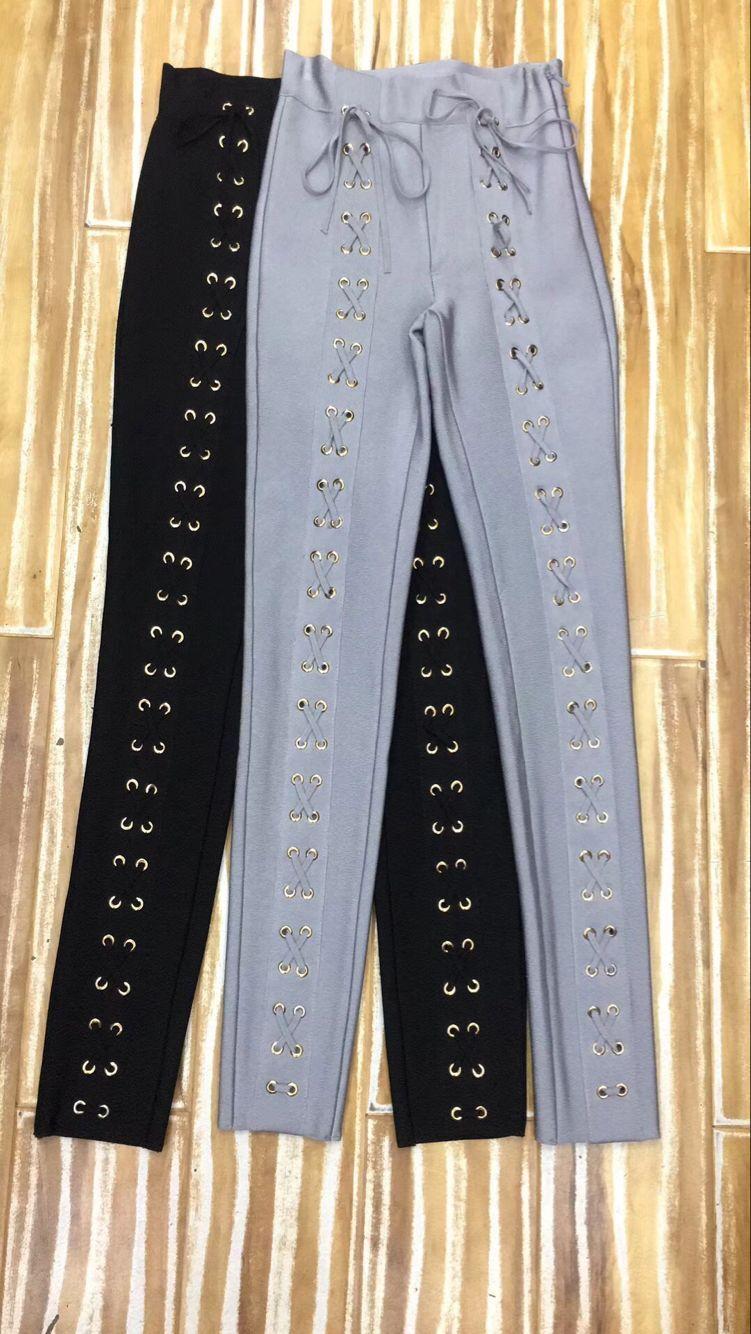 gris Lápiz 2018 Alta Punto Elegante Diseñador Sexy Pantalones Bodycon Negro Vendaje Hecho Gris Calidad Negro g6PqT