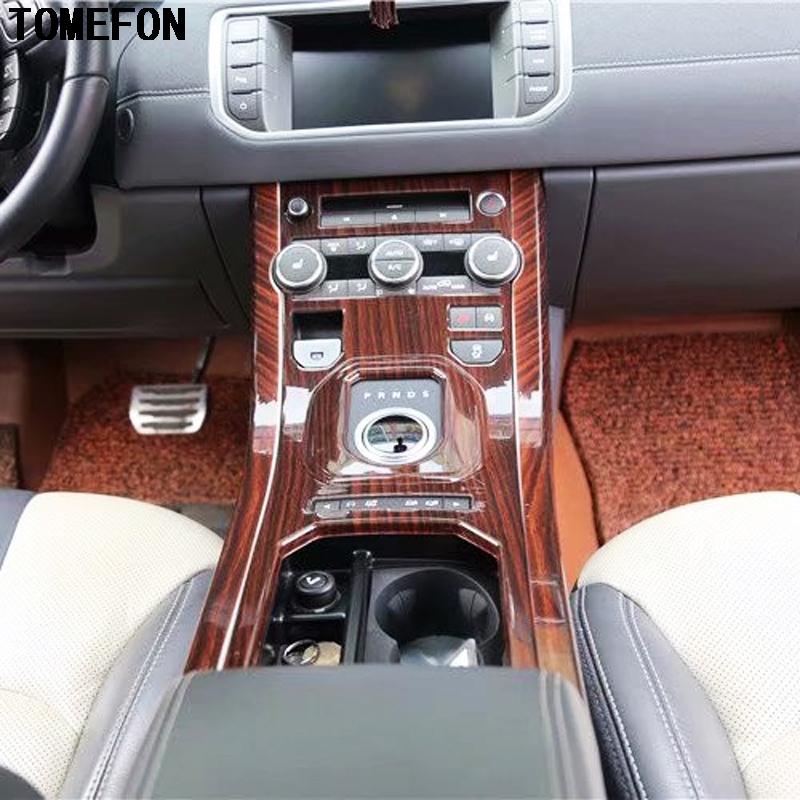 TOMEFON For Range Rover Evoque 2015 to 2018 ABS Carbon Fiber Wood Paint Interior Front Middle Gear Shift Side Frame Stripe 2pcs carbon fiber style abs plastic for land rover range rover evoque 12 17 center console gear panel decorative cover trim newest