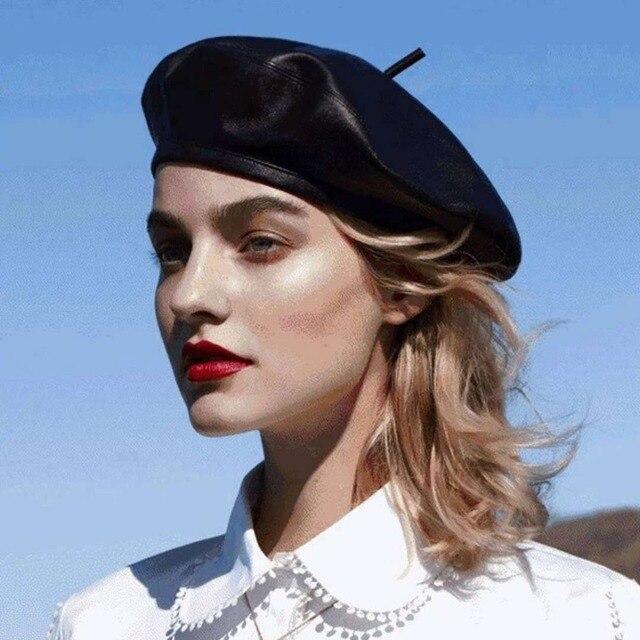 2018 New Autumn Winter Women Fashion PU Leather Beret Hat French Black  Berets Cute Pumpkin Cap cf4581a61042