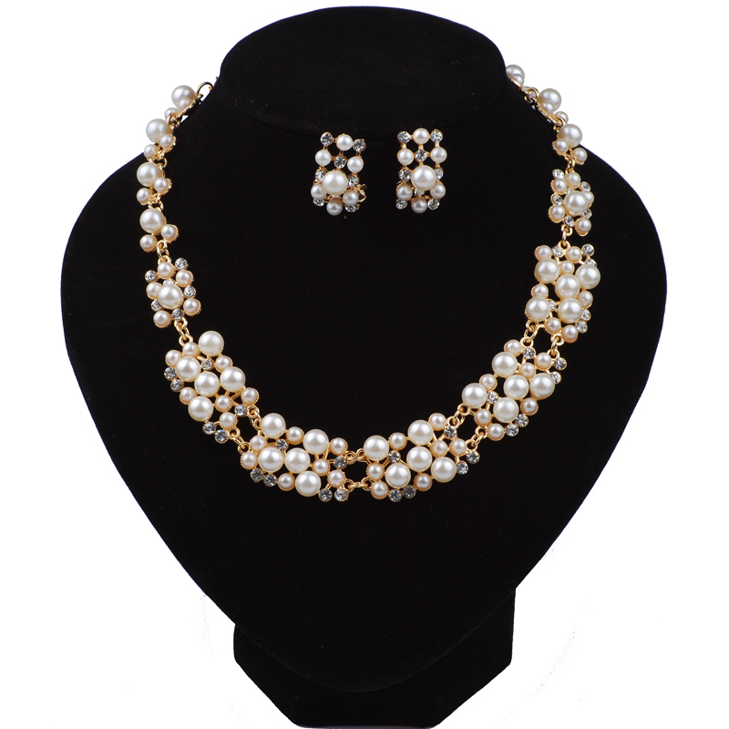 Bridal Jewellery Sets Simulated-pearl Necklace And Earrings Set Female Girls Fashion Jewelry Dubai 40th Birthday Gift For Woman