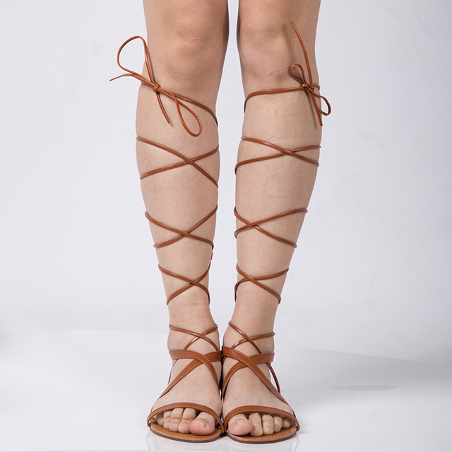 New 2016 Women Sandals Fashion Gladiator Sandal Sexy Cutout Knee High Sandalias Flip Flops Summer Style Casual Shoes Woman