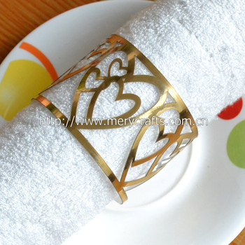 Hot sale elegant hotel or home decoration metallic gold eco-friendly laser cut paper wedding napkin rings