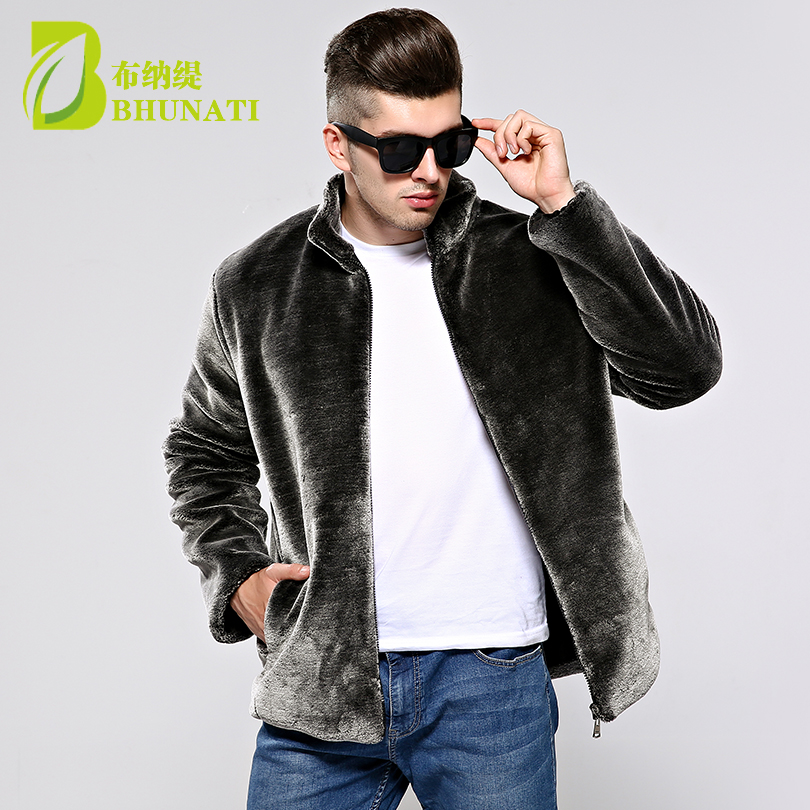 BHUNATI 2018 New Faux Fur Coat Mens Imitation Mink Coat Men s Stand Collar Jacket Mens