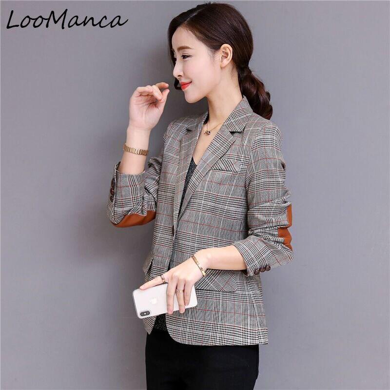 Plaid blazers jackets women 2019 New Autumn formal long sleeve suit office ladies plus size 5XL uniform blazer jeans con blazer mujer