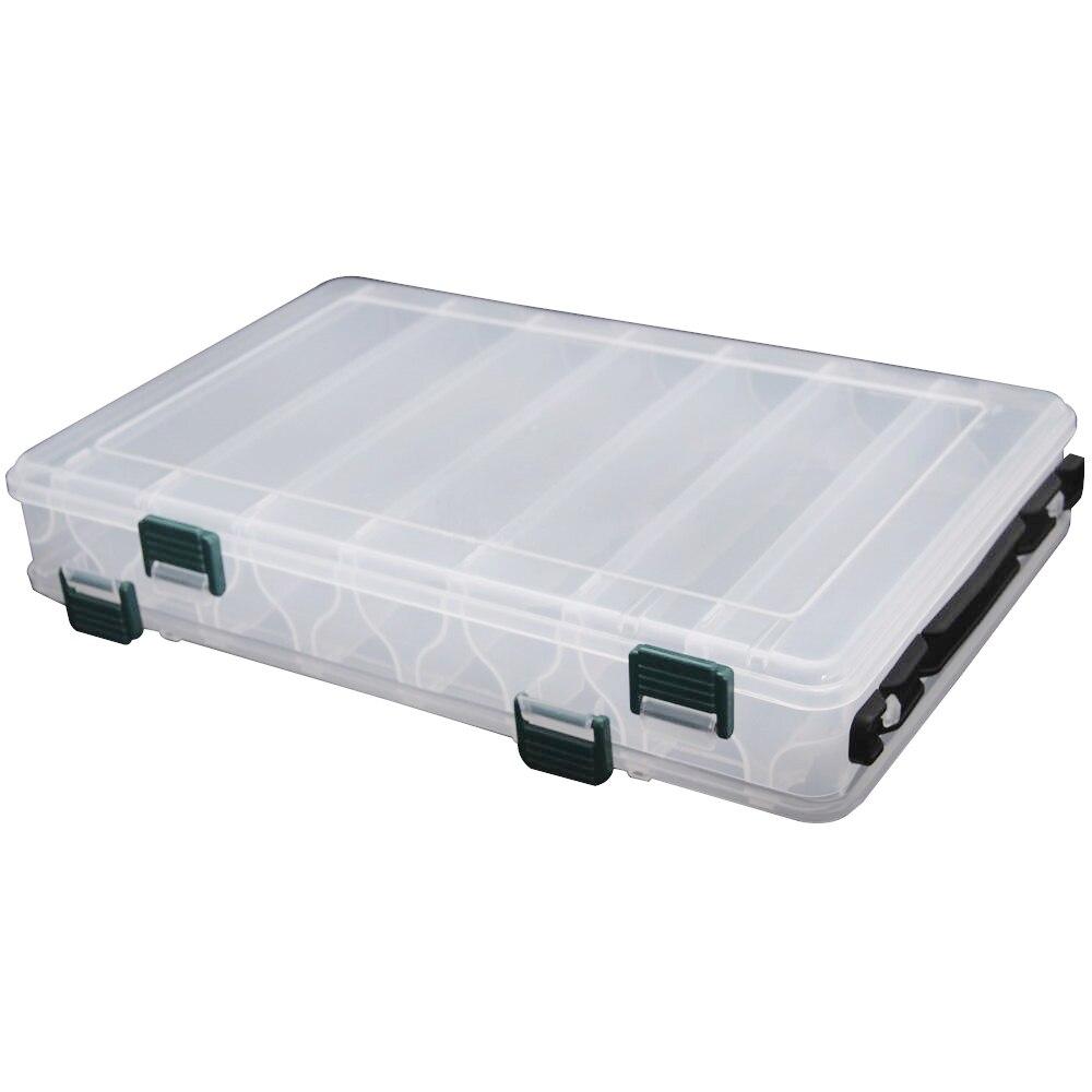 Bom negócio 27*18*4.7 cm equipamento de pesca dupla face plástico caixa de isca de pesca 14 compartimentos