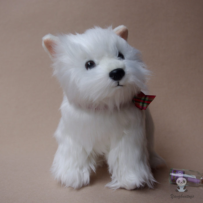 цена Stuffed Dogs Dolls Toys Real Life West Highland White Terrier Toy Children Cute Birthday Gifts
