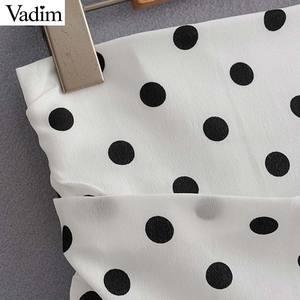 Image 5 - Vadim ผู้หญิง polka dot สีขาวไม่สมมาตรกระโปรงมินิ ruffles จีบสูงเอวกลับซิปหญิงไม่สม่ำเสมอ chic กระโปรง BA717