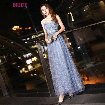 f0fa7e042c8 Торжественное платье халат De Soiree когда-либо Довольно Голубой пикантные  без рукавов модные кружевные аппликации вечернее платье вечерние п.
