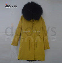 2016 New Women's Winter Jacket Short Style Large Raccoon Fur Collar Slim Warm Hooded Coat Women yellow furs parka