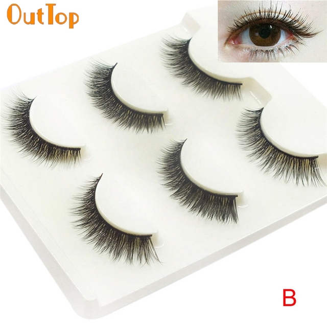 Outtop Love Beauty Female 3 Pairs Natural Long Cross False Eyelashes