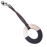 2017 Spring New Fashion Geometric Resin Pendant Necklace Adjustable Brown Leather Rope Necklaces For Women