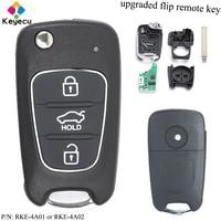 KEYECU Upgraded Flip Remote Control Car Key 433MHz & ID46 Chip FOB for Hyundai I20 I30 I40 I35 IX35 P/N: RKE 4A01 / RKE 4A02