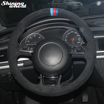 Shining wheat Light Blue Red Blue Marker Black Suede Car Steering Wheel Cover for Audi A1 A3 A5 A7