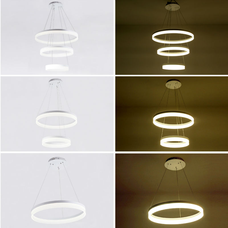 Fashional Modern Chandeliers Ceiling Circle Rings Led Chandelier Light Chandelier Pendant Lamps White Acrylic Bedroom Lighting fashional modern black