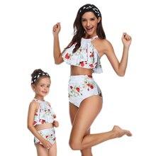 Family Mother Girl Bikini  Swimsuit Swimwear Women Swimsuit Children Baby Kid Beach Swimwear Biquini Infantil High Waist Bikini купальник для девочек maka baby biquini infantil tankini q63907 bikini