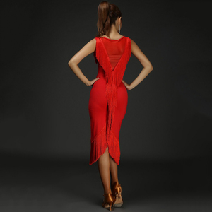Image 3 - חדש 4 צבעים טאסל סקסי לטיני ריקוד שמלת נשים הדפסת לטיני תחפושת ביצועי שמלת סלסה סמבה סלוניים תחרות שמלה