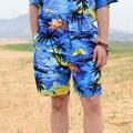 2016 Men Women Hawaii Casual Beach Shorts Summer Loose Male Female Cotton Shorts Floral Printed Board Shorts W605