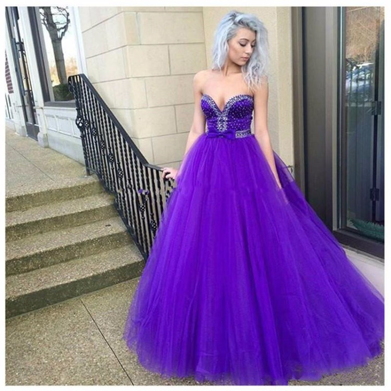 Moda púrpura largo vestido de fiesta 2016 rebordeó tulle mujeres ...