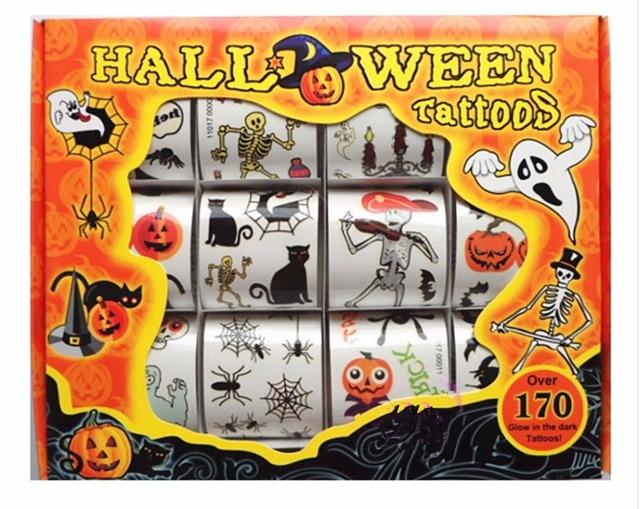 12pcs box kids toy cartoon halloween tattoo sticker temporary tattoos bat skull spider set maquiagem