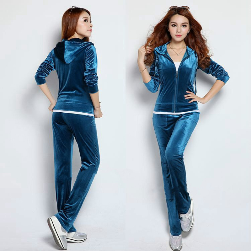Spring / Fall /2018 Womens Brand Velvet fabric Tracksuits Velour suit women Track suit Hoodies and Pants sapphire kyliejenn