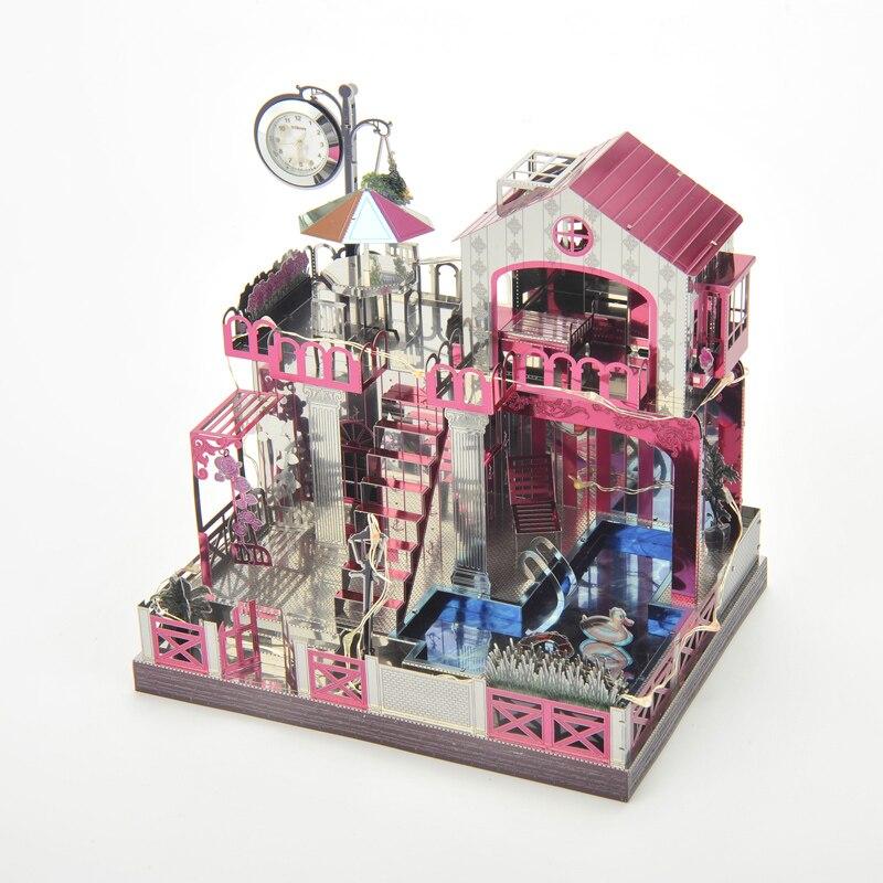 Love Building thème boîte à musique 3D bricolage Puzzle en métal classique décor à la maison avec horloge temps assemblage jouet cadeau de noël cadeau d'anniversaire