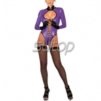 latex Exotic Apparel clothes latex suit garment purple color jumpsutis SUITOP