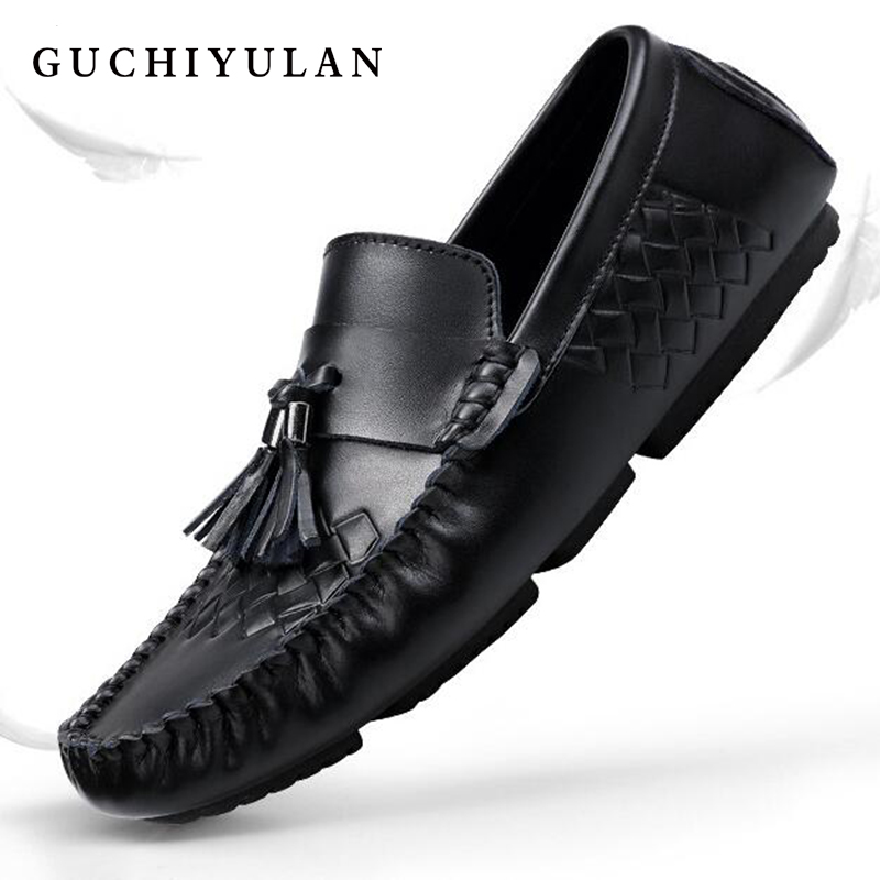 2018 Newest Brand Name Men Casual Shoes Big Size 46 Slip-on Men Loafers Autumn Genuine Leather Driving Flat mocasines hombre dekabr new 2018 men cow suede loafers spring autumn genuine leather driving moccasins slip on men casual shoes big size 38 46