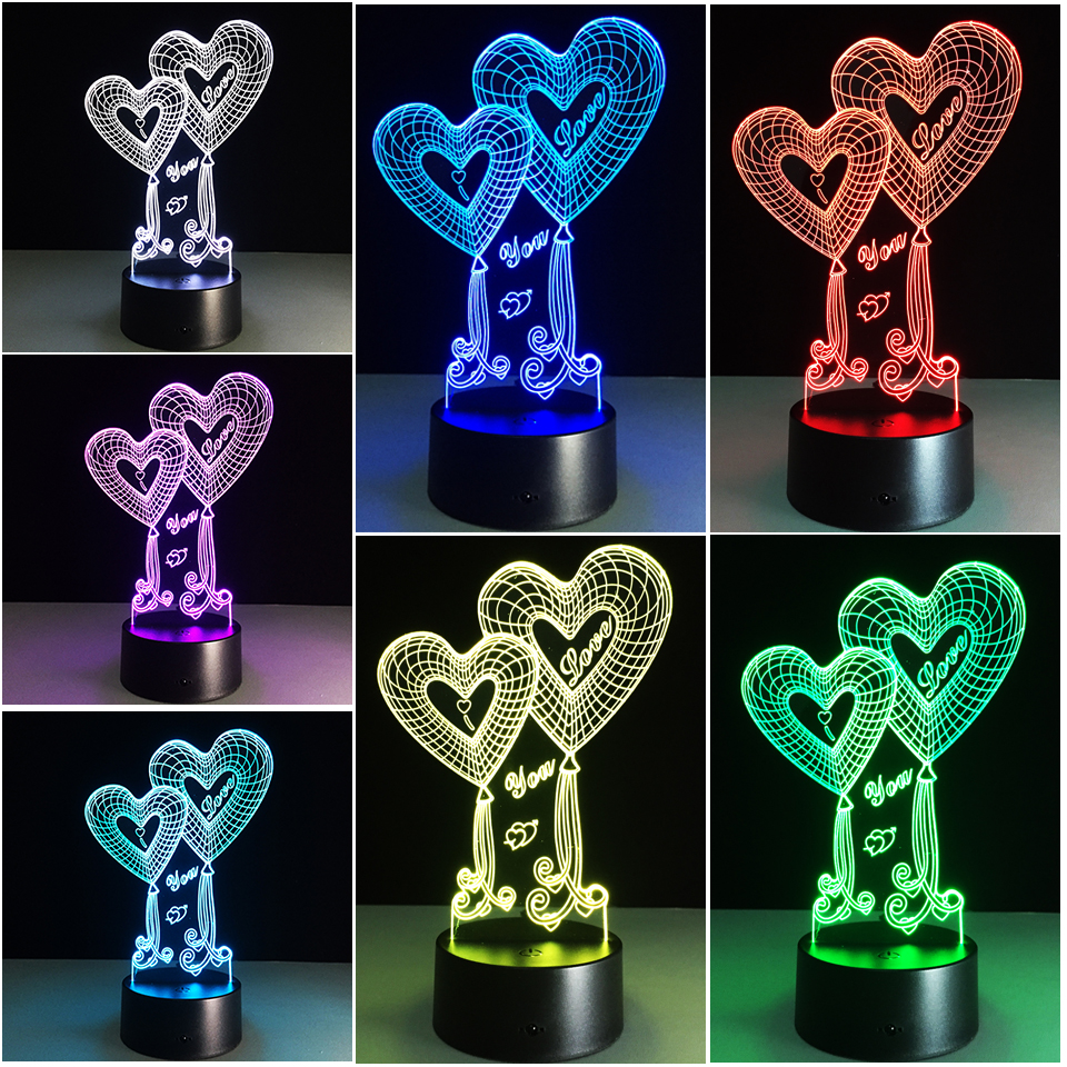 Chaohui Sweet Heart I Love You 3d Led Lamp Romantic Decorative Colorful Novelty Light Girlfriend Mother's Valentine's Day Gifts