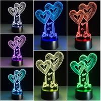 Chaohui Doce Coração EU Te amo 3D Lâmpada LED Decorativo Romântico Colorido Novidade Luz Mãe Namorada Dia Dos Namorados presentes|Iluminação Novelty| |  -