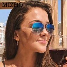MIZHO Unisex Stainless Steel Metal Sunglasses Women Pilot Brand Design High Quality Glass Lenses Eyewear Mirror Men Summer 2019