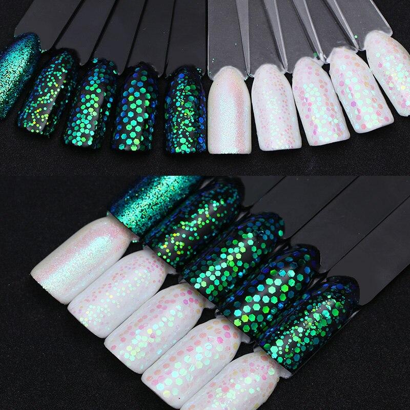 BORN PRETTY Chameleon Transparent Nail Sequins AB Color Green Series ...