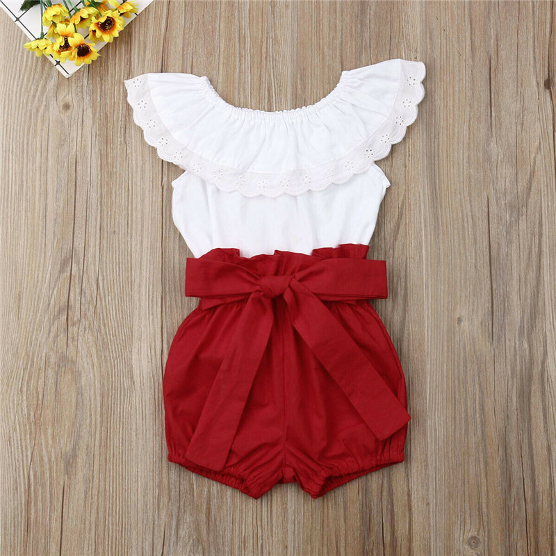 2019 Summer Kids Baby Girls Sets Princess Solid 2Pcs Ruffles Collar Tank Tops+Bow Belt Shorts Girl Clothes Cotton Outfits 1-6Y
