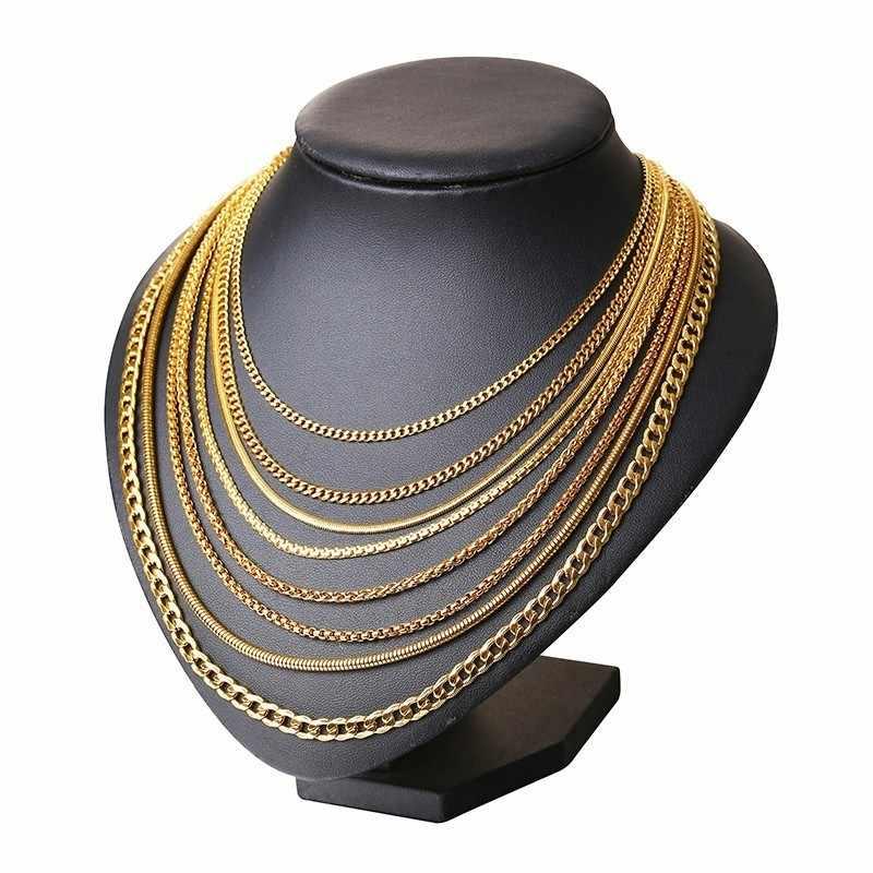 "Vnox Men Women Necklace Gold Tone Snake Miami Cuba Wheat Spiga Paima Link Round Box Curb Chain 24"" Stainless Steel Choker w/K18"