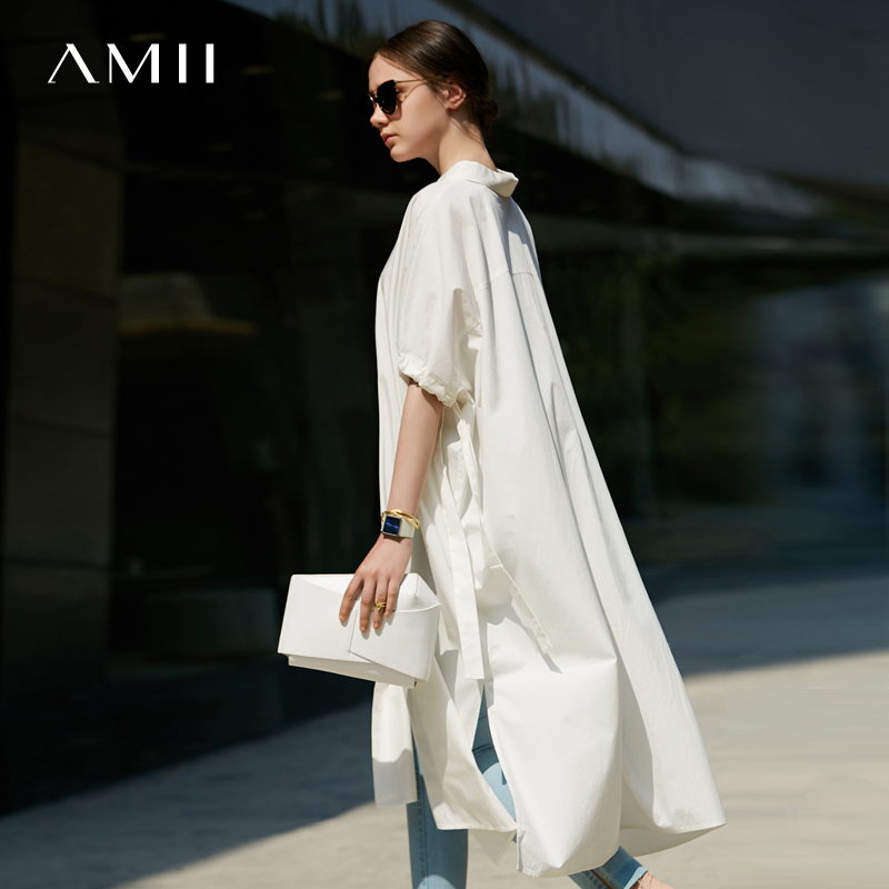 Amii Women Minimalist Dress 2018 Solid Loose Drawstring Batwing Sleeve Female Dresses