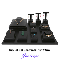 12pcs Combo Set White or Black Leatherette Necklace Bracelet Earring Ring Jewelry Display Stand Holder Bust for Jewellery Store