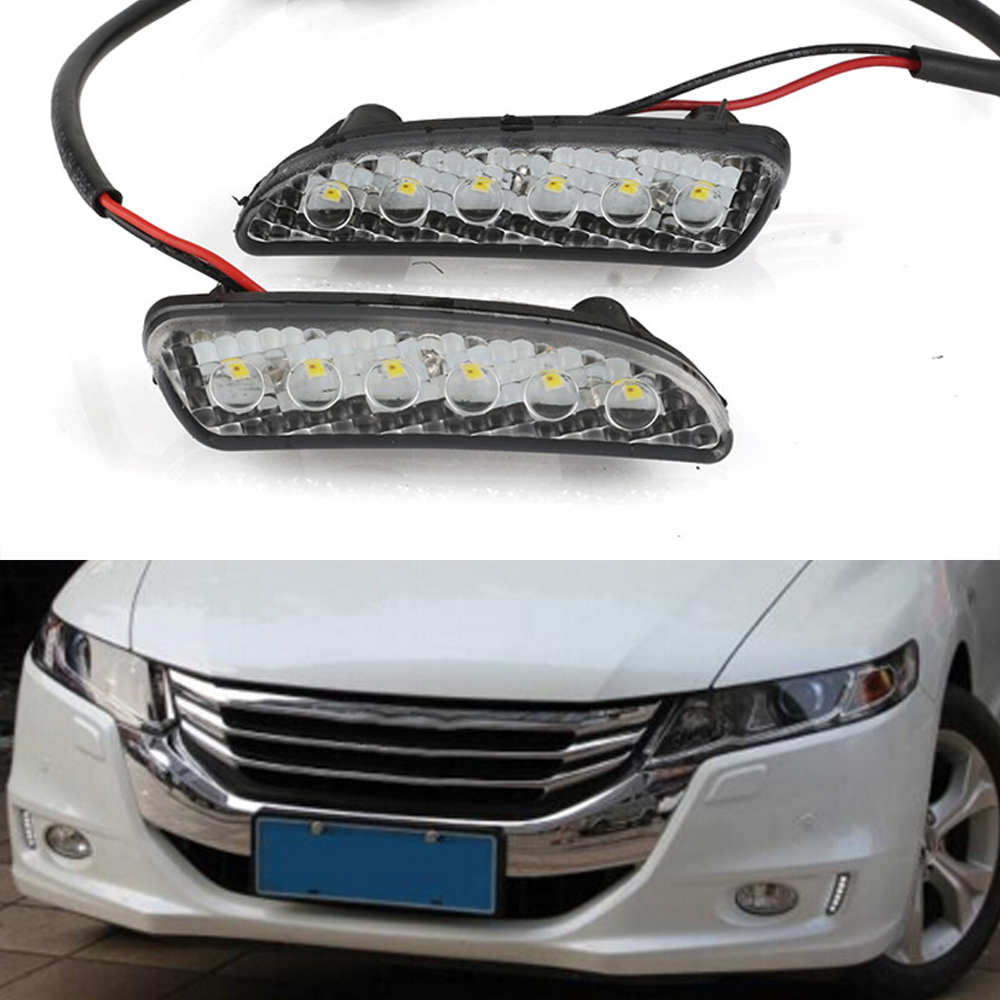 New Auto Car LED Light DRL Driving Daytime Running Lights White Yellow Daylight For Honda Odyssey 2012-2014 Free Shipping D35