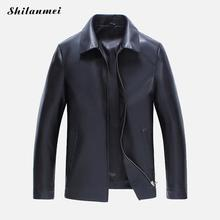 2017 softshell Spring PU Leather Fur coat new bomber Jacket black motorcycle Men waterproof Winter brown Black pure color autumn