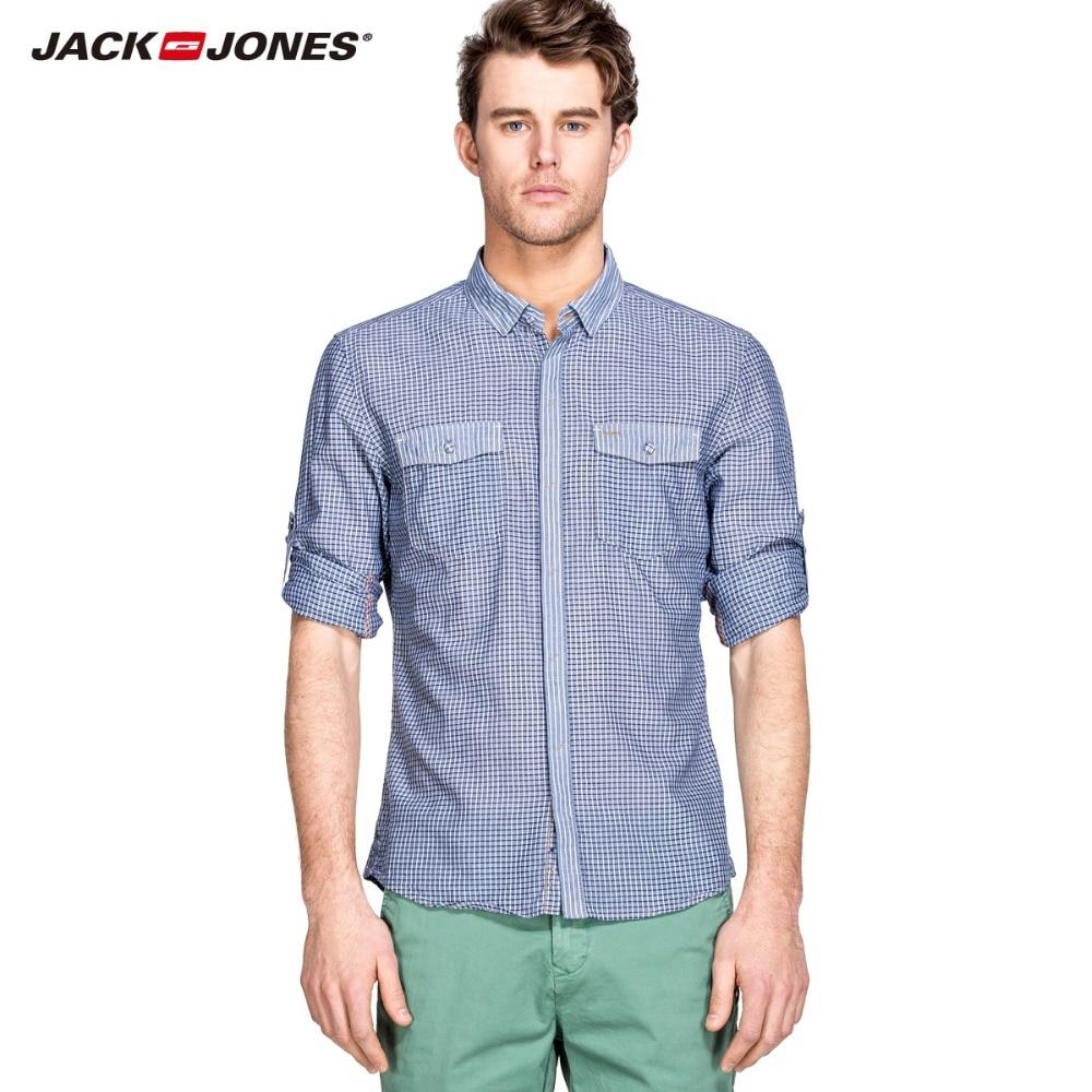 JackJones marke 100% baumwolle komfortable casual shirts plaid gedruckt hemd 214205002